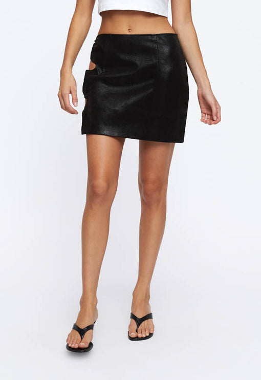 Sorry Not Sorry Mini Skirt - BLACK CROC