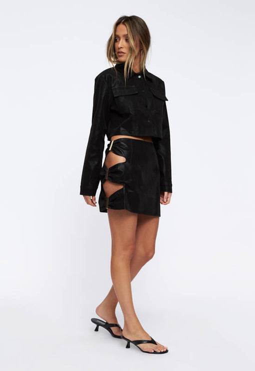 Nastalgic Cropped Jacket - BLACK CROC