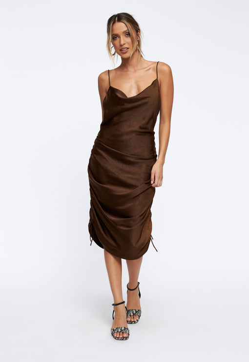 String Along Mini Dress - BROWN