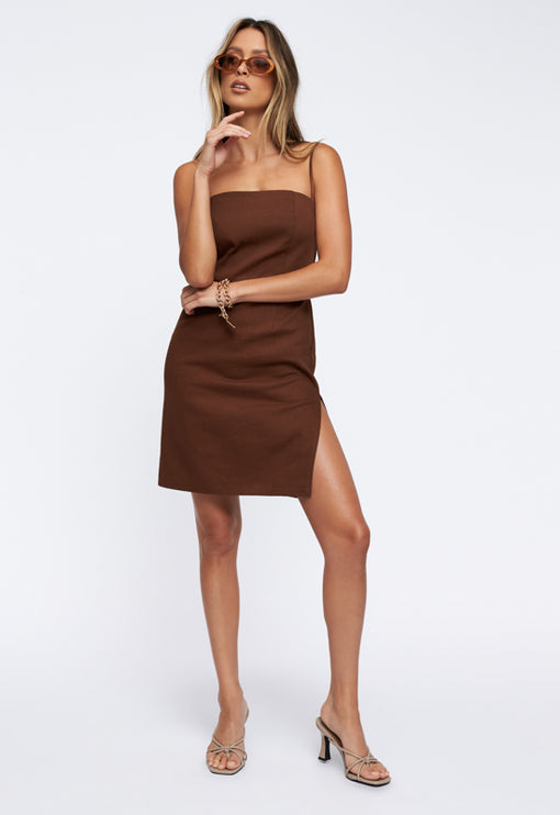 Flaws And Sins Mini Dress - BROWN
