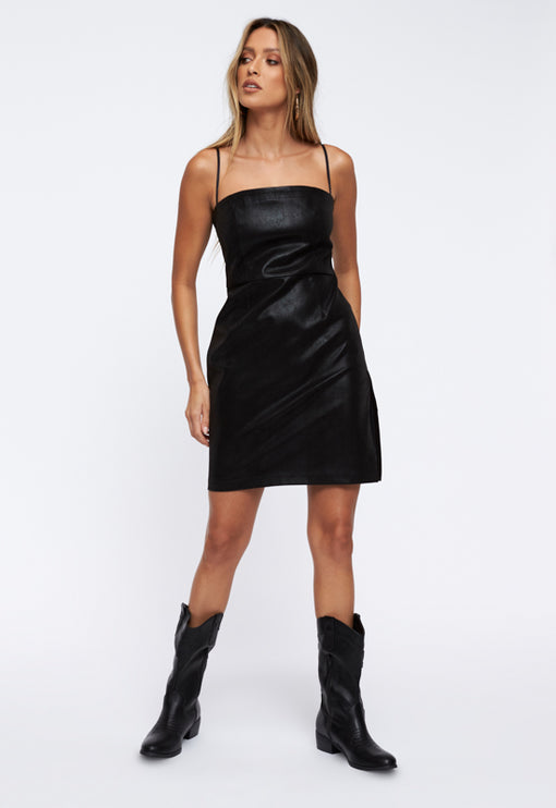 Flaws And Sins Mini Dress - BLACK CROC