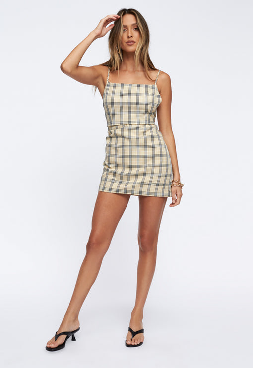 Rumour Mill Mini Dress - TAN