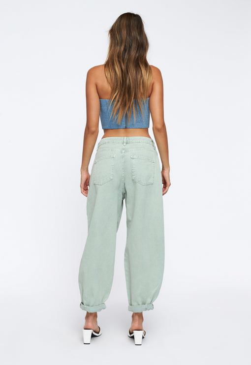 Here Comes Trouble Crop Top - LIGHT DENIM