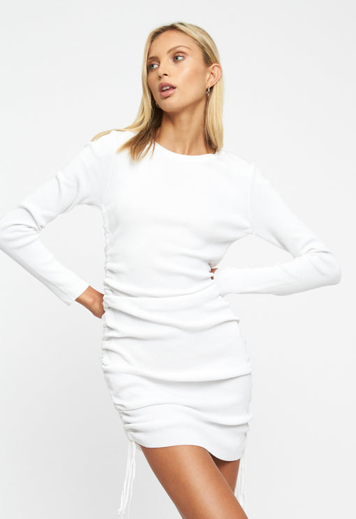 Military Minds Long Sleeve Dress  - WHITE