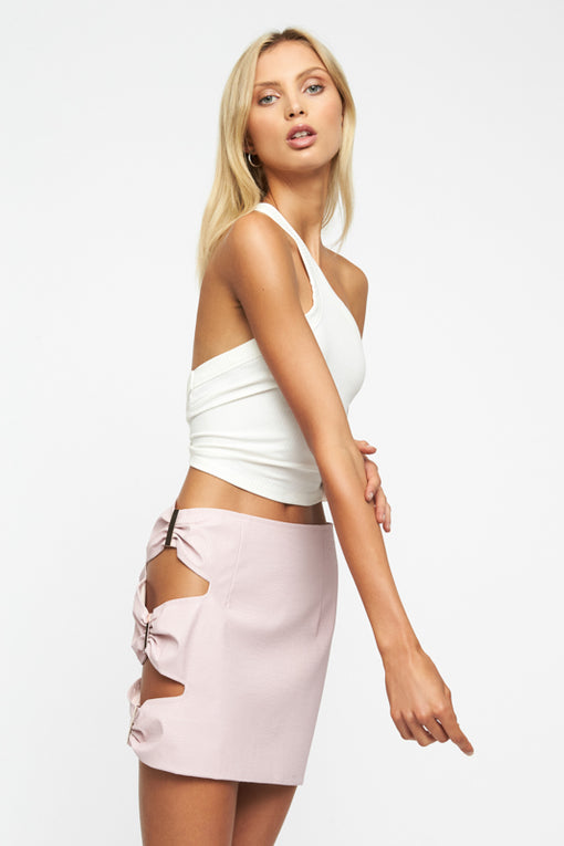 Sorry Not Sorry Mini Skirt - PINK CROC