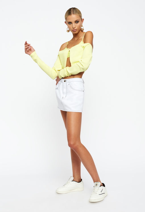 The Lair Cardi Crop - LIME