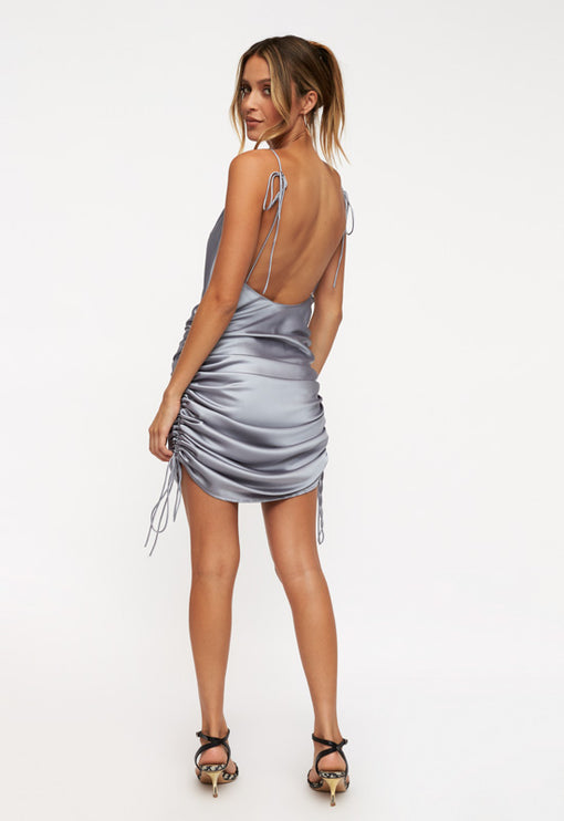 String Along Mini Dress - SILVER