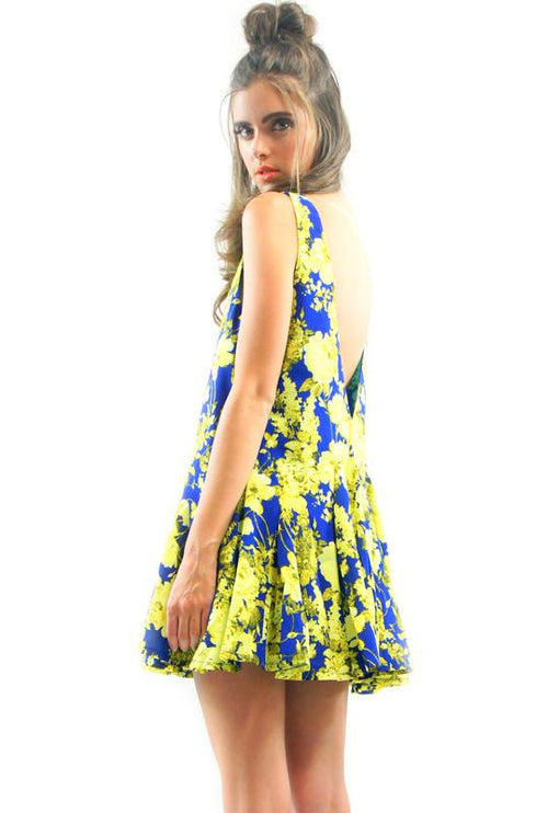 Bridget Dress - BLUE/YELLOW FLORAL