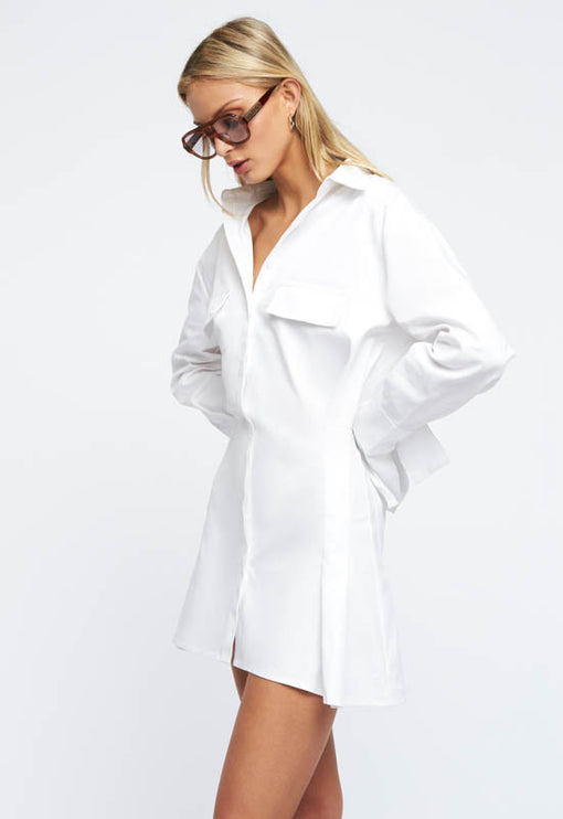 Cover Girl Mini Dress - WHITE DENIM