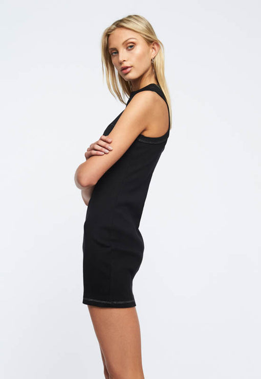 Babydoll Ribbed Mini Dress - BLACK