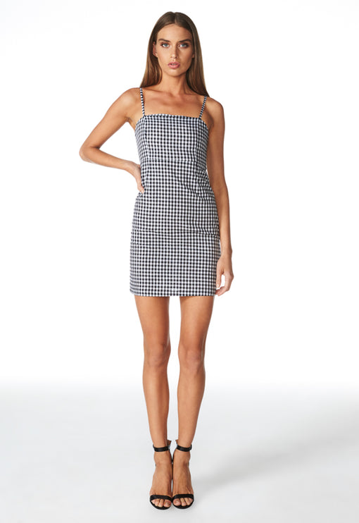 Cha Cha Gingham Mini Dress - BLACK GINGHAM