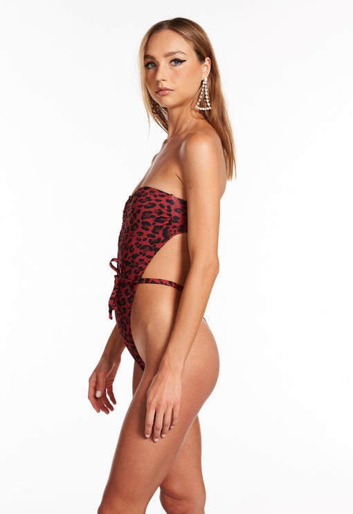 The Lily Bodysuit - RED LEOPARD