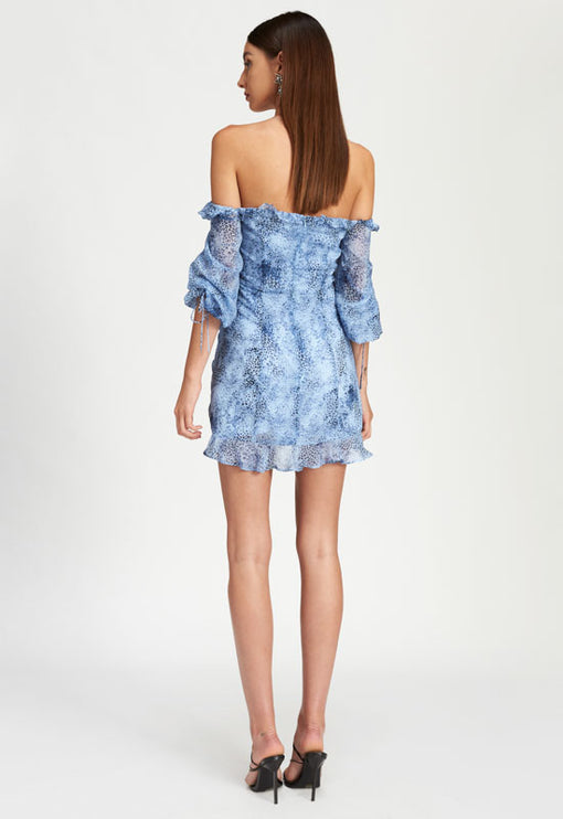 Feng Shui Mini Dress - BLUE ANIMAL