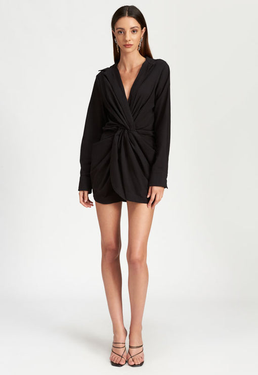 Hey You Shirt Dress - BLACK