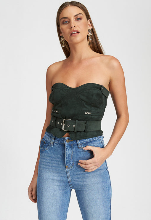 Runway Bustier - FOREST GREEN