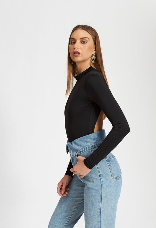 Looking Back Bodysuit - BLACK