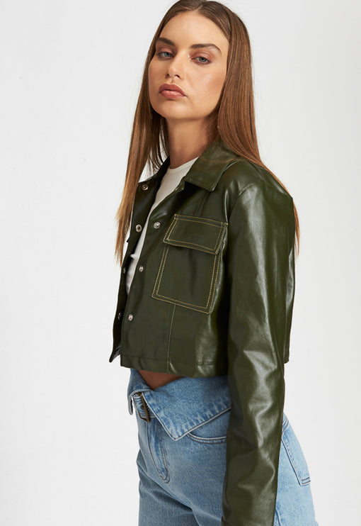Hudson Crop Jacket - KHAKI