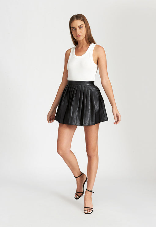 High Life Pleat Skirt - BLACK LEATHER