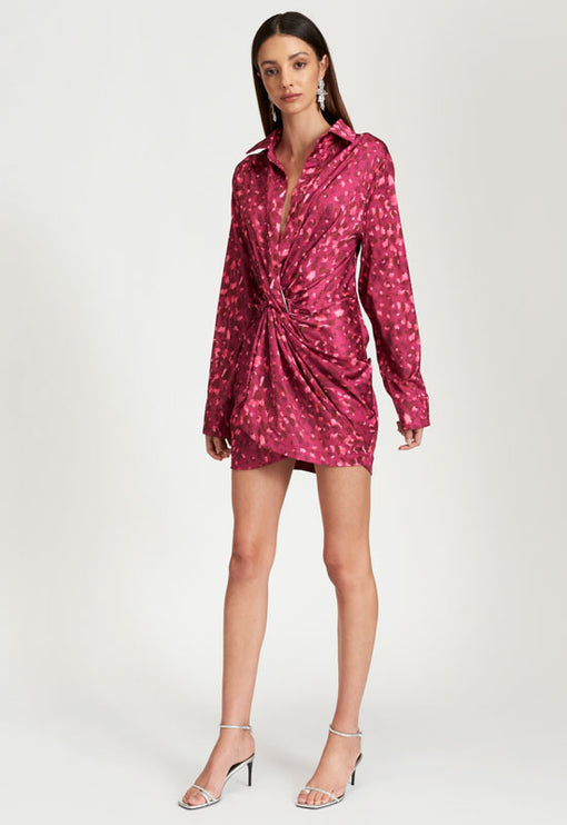 Hey You Shirt Dress - PINK LEOPARD