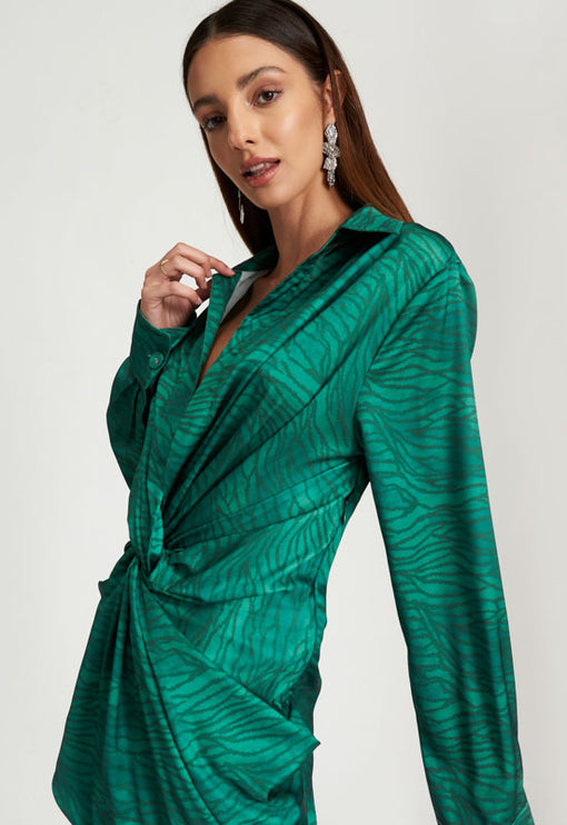 Hey You Shirt Dress - GREEN ZEBRA