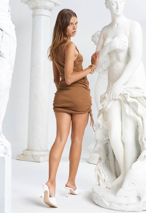 Military Minds Mini Dress – CAMEL