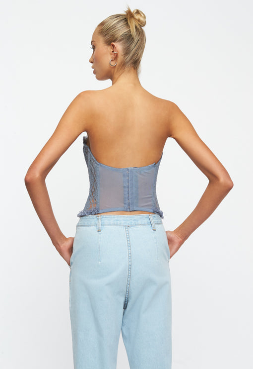 The Plaza Bustier - DUSTY BLUE