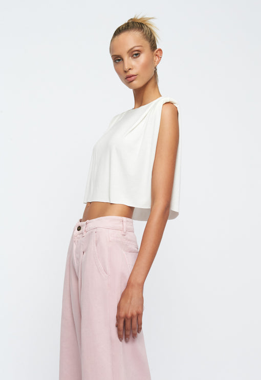 St Tropez Crop Top - WHITE
