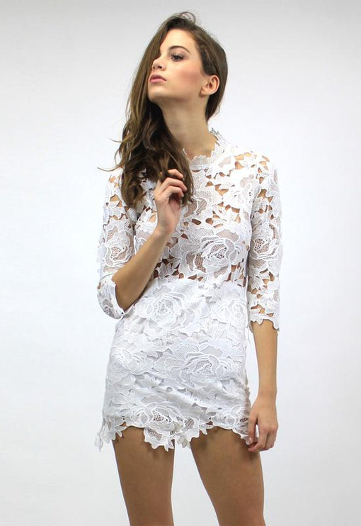 Harvest Lace Dress - WHITE