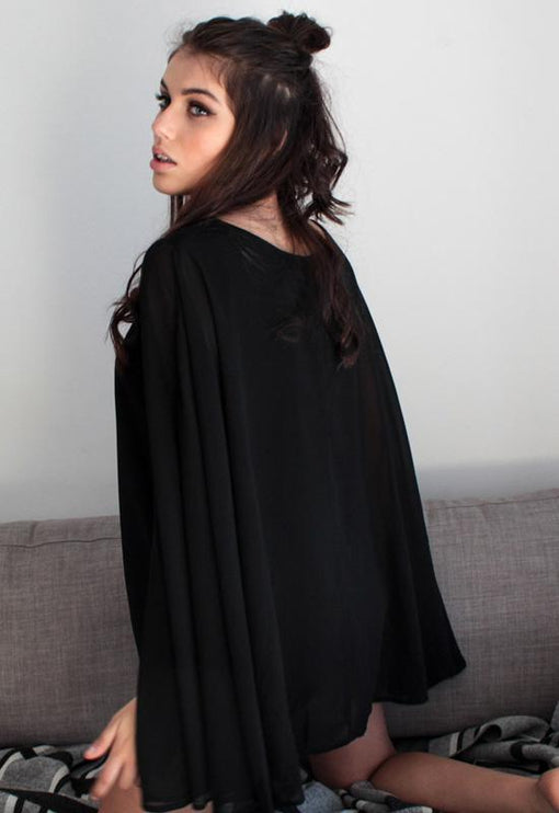 DAHLI Stevie Cape Top - BLACK