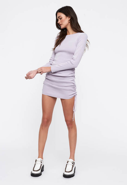Military Minds Long Sleeve Dress - PASTEL PURPLE