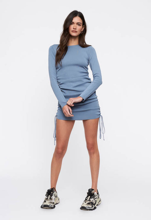 Military Minds Long Sleeve Dress - DUSTY BLUE