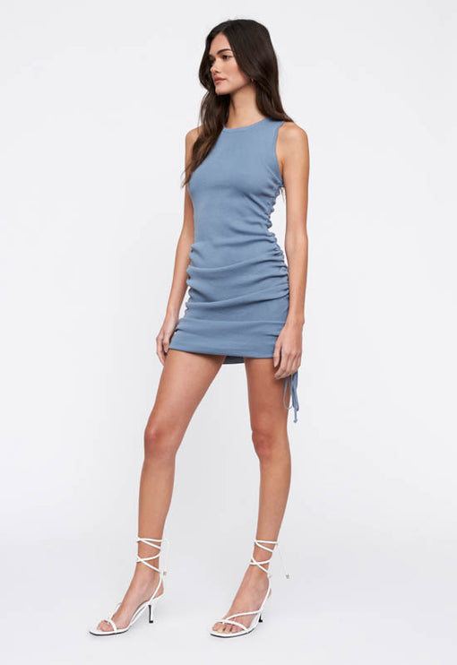 Military Minds Mini Dress - DUSTY BLUE