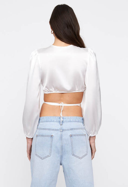 Tongue Tied Crop Top - WHITE