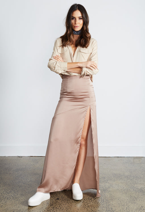 Crawford Silky Skirt - MOCHA