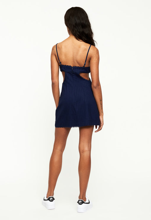 Awakening Mini Dress - MIDNIGHT PINSTRIPE