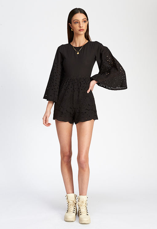 The Bandida Bell Romper - BLACK