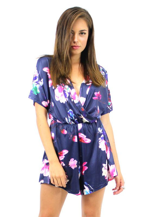 Bloom Plunge Playsuit - TROPICAL NAVY