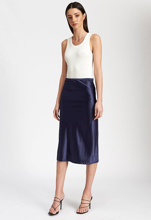 Bias Midi Skirt - NAVY