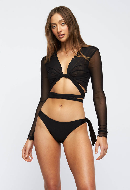 The Kendall Mesh Crop - BLACK