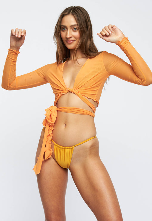 The Kendall Mesh Crop - ORANGE