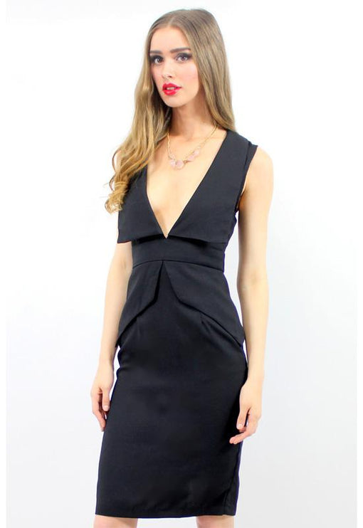 Unconditionally Peplum Midi Dress - BLACK