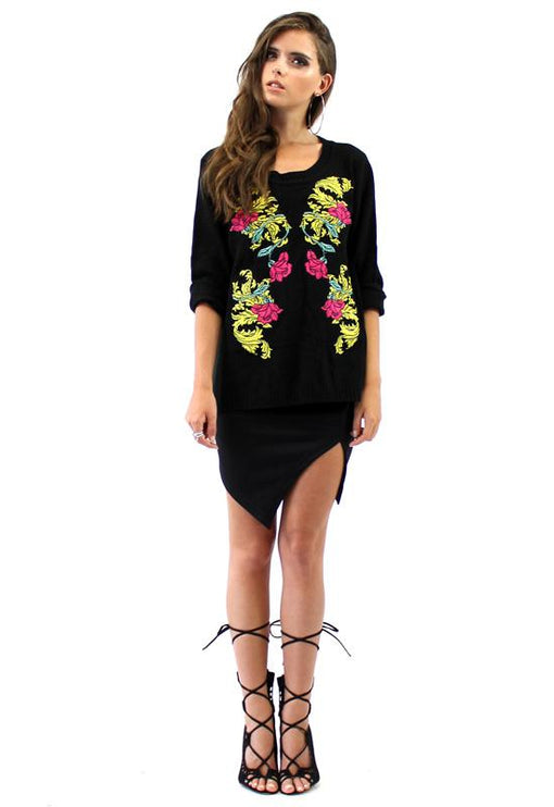 Clara Floral Embroidered Knit - BLACK