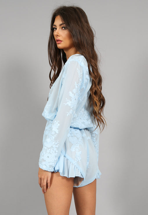 Baby Brooke Lace Romper - BLUE