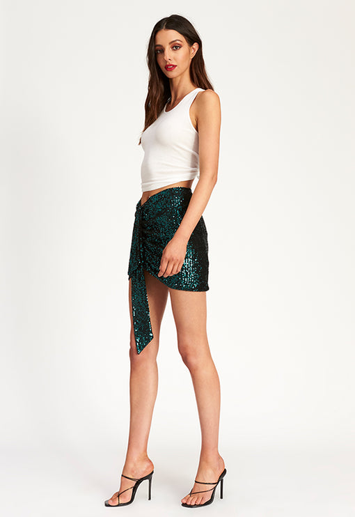 Diamonds In The Sky Mini Skirt - FOREST GREEN