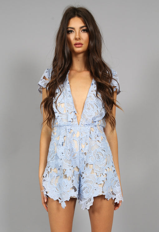 Casablanca Plunge Playsuit - POWDER BLUE