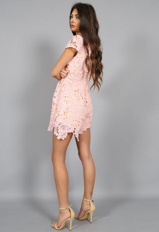 Casablanca Plunge Playsuit - BLUSH