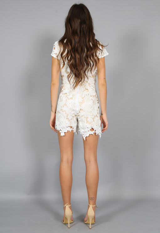 Casablanca Plunge Playsuit - WHITE
