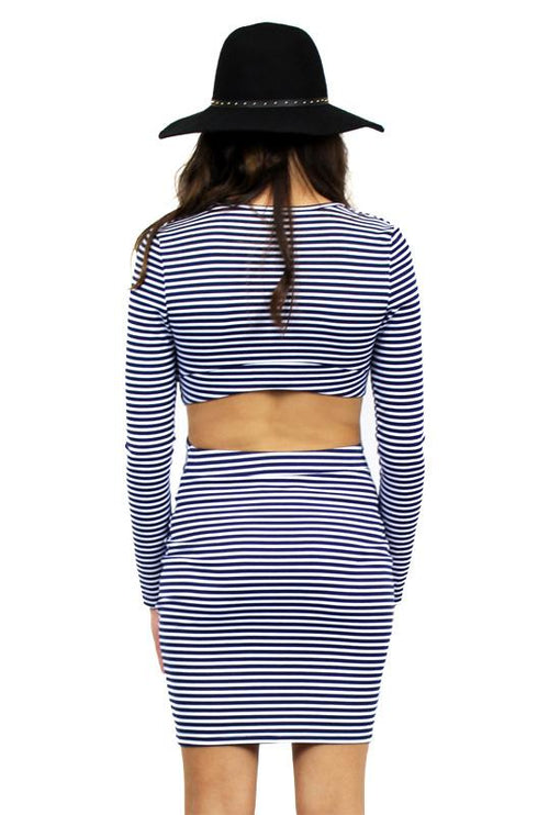 Willow Dress - NAVY STRIPE