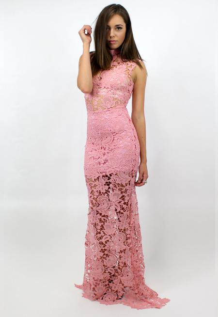 Godiva Lace Maxi Dress - PINK