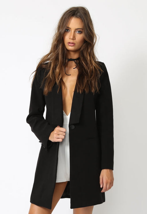 New Jupiter Lapel Coat - BLACK